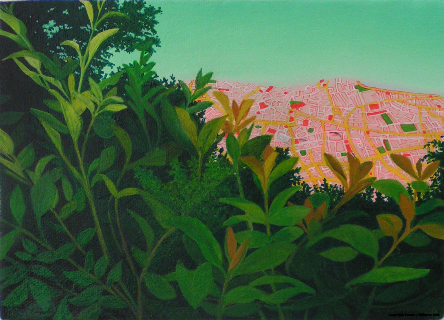 Emma J Williams ' Pink City through trees' ii 2005 oil on canvas