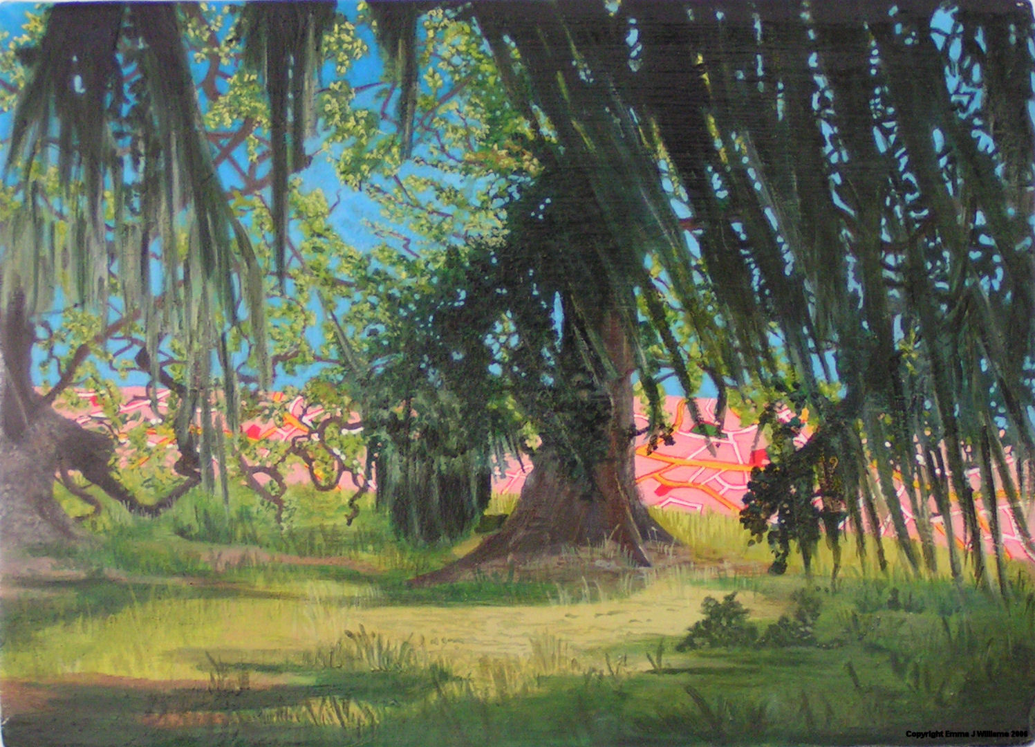 Emma J Williams 'Pink City through trees' 2005 oil on canvas