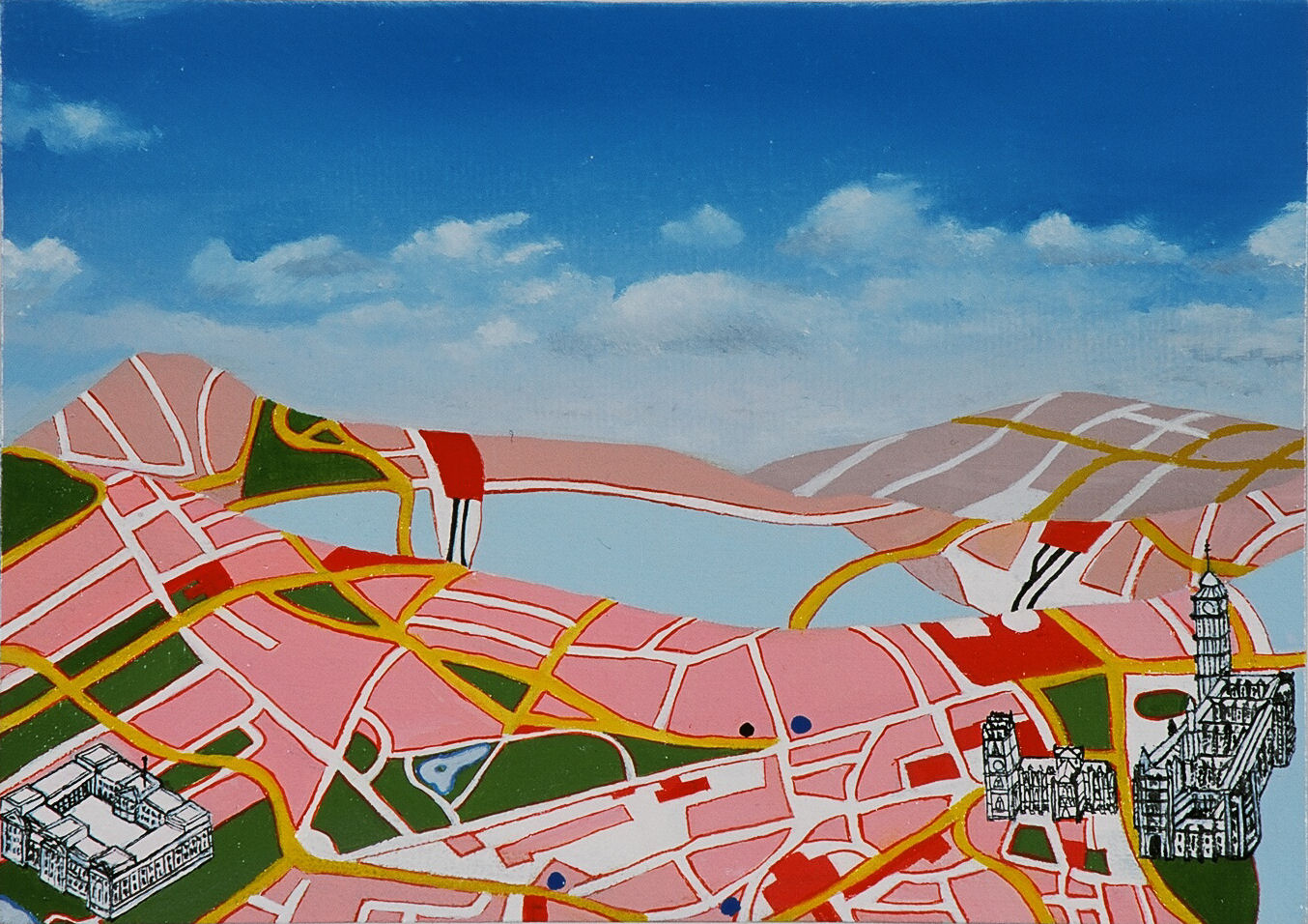 Emma J Williams ' Pink City with buildings' 2003 oil on canvas