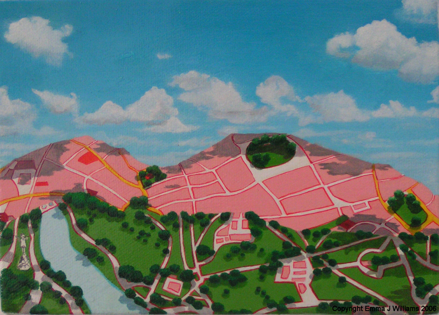 Emma J Williams ' Pink City with park' 2004 oil on canvas
